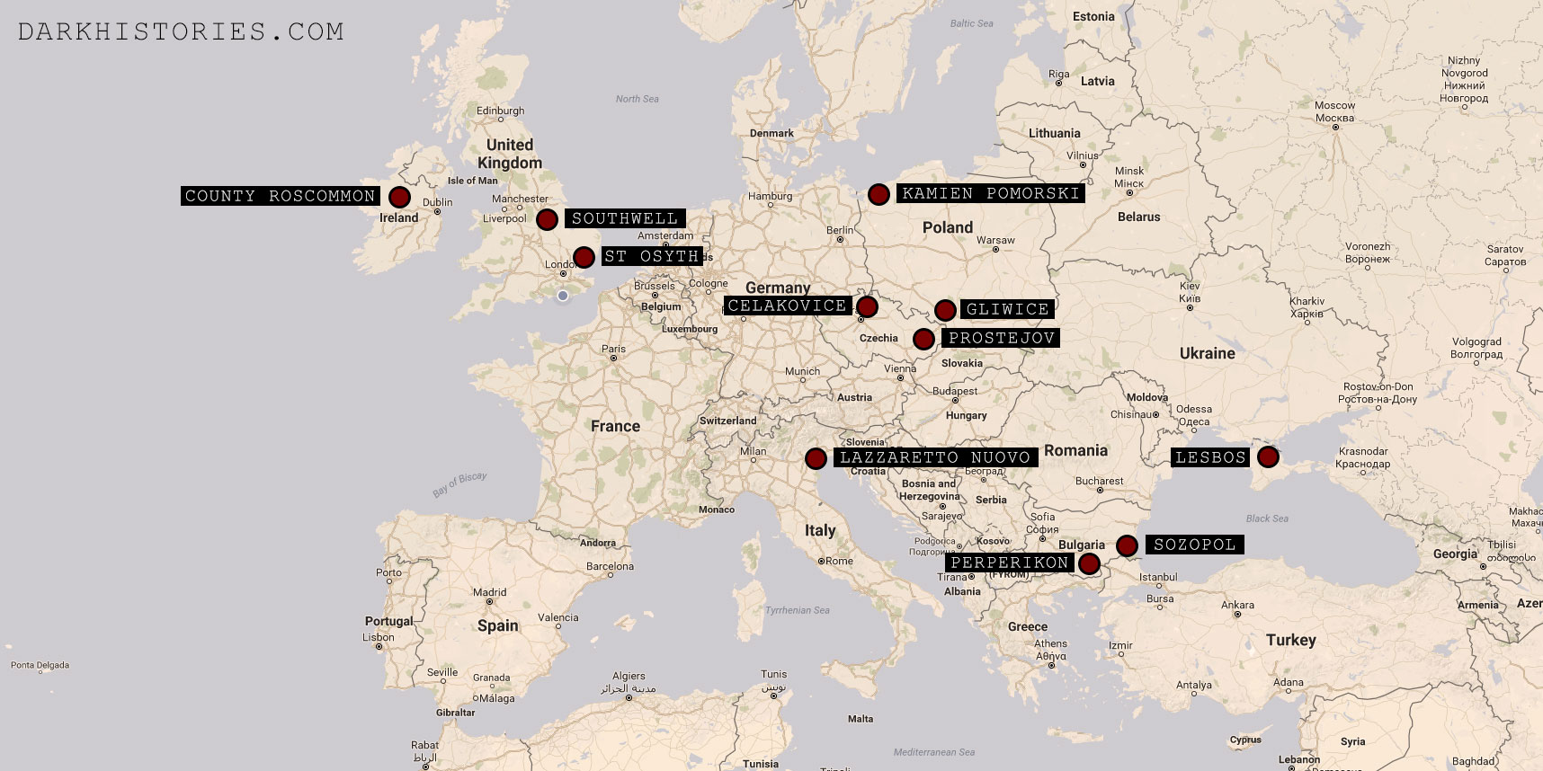 Map of Europe with locations of suspected Vampire deviant burials